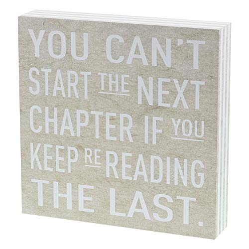 Barnyard Designs You Can't Start The Next Chapter If You Keep Re-Reading The Last Box Wall Art Sign Primitive Country Home Decor Sign with Sayings 8