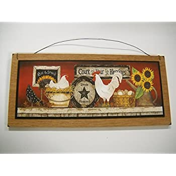 rooster country kitchen wooden wall art sign farm decor home improvement. Black Bedroom Furniture Sets. Home Design Ideas