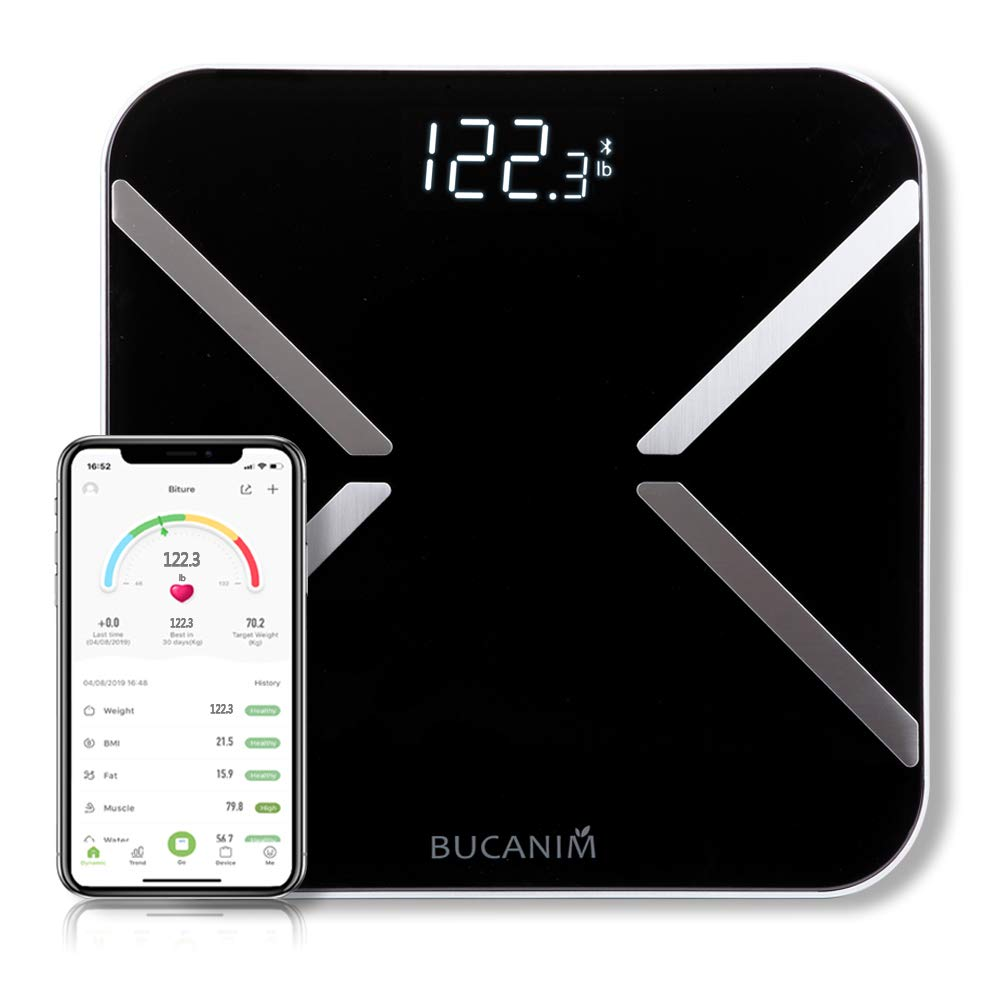 POWERADD Bluetooth Body Fat Scale Smart Wireless Digital Bathroom Weight Scale Body Composition Analyzer Body Health Fat Monitors with iOS /& Android Smartphone App for Body Weight