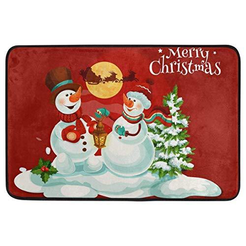 (Christmas Decorative Doormat Home Decor Snowman Candle Lantern Holly Berry Santa Claus Welcome Indoor Outdoor Entrance Bathroom Floor Mats Non Slip Washable Winter Hoilday Pet Food Mat 23.6 x 15.7 in )
