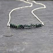 Raw Blue Green Diamond Sterling Silver Necklace Jewelry Gift for Women 16 Inches