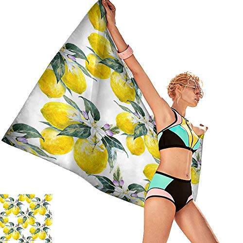 homehot Bath Towels Watercolor Pattern Blooming Lemon Lemon Fruit with Flowers Citrus Seamless Wallpaper,W20 xL39 for Bathroom Striped