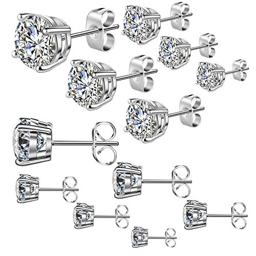 Cadiaon Womens Stud Earrings: Round Cubic Zirconia, Stainless Steel, Plated White Gold, 3-8mm (6 Pairs)