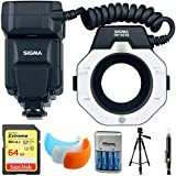 Sigma EM-140 DG Macro Flash for Nikon DSLRs (309306) with 64GB Memory Card, DSLR Camera Flash Diffuser Soft Flash Cover, Travel Charger, 60'' Full Size Photo / Video Tripod & LCD/Lens Cleaning Pen