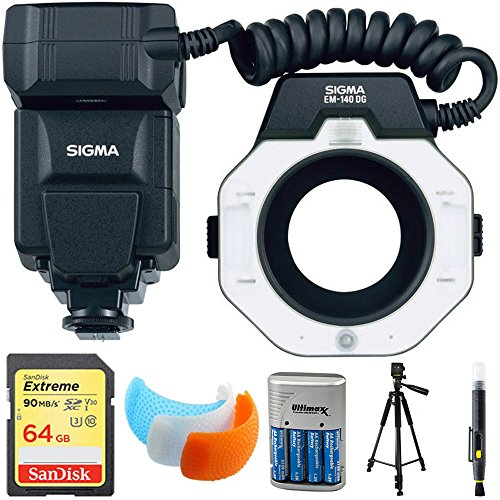 Sigma EM-140 DG Macro Flash for Nikon DSLRs (309306) with 64GB Memory Card, DSLR Camera Flash Diffuser Soft Flash Cover, Travel Charger, 60'' Full Size Photo / Video Tripod & LCD/Lens Cleaning Pen by Sigma