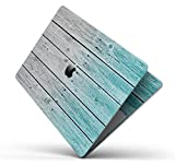 """Wood Pattern Design Skinz Premium Full-Body Cover Wrap Decal Skin-Kit for The Apple MacBook 13"""" Pro 2017+ (A1708) - Trendy Teal to White Aged Wood Planks"""