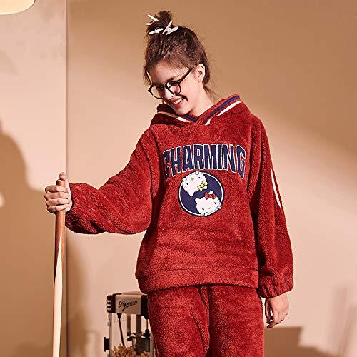 Terciopelo Calidad Conjunto Dibujo Invierno Rojo Ropa Coral Con Dormir Pijamas Animado Dos De Capucha Señoras Lindo Grueso Estampado Franela Camisones Noche Piezas rraAOq