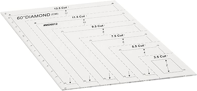 Fityle 60/°Diamond Rhombus Template Quilting Sewing Ruler Quilter Patchwork Craft