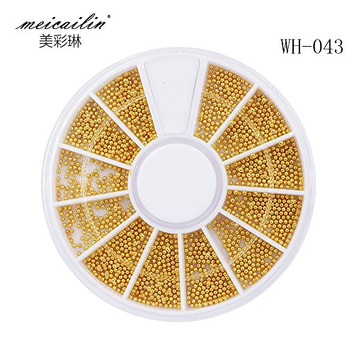 Sindy 1 Box Steel Beads Nail Studs Gold 0.8mm 3D Nail Art Decorations In Wheel Manicure DIY