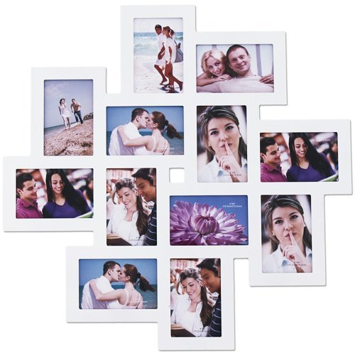 amazoncom adeco white wood 12 openings wall collage picture frame 4 x 6 inch