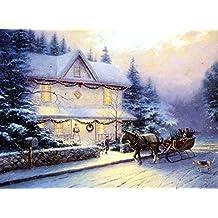 SomoArt Printed Poster Wall Art Home Decor HD Prints Oil Paintings on Canvas Victorian Christmas IV Thomas Kinkade Landscape Beautiful Art