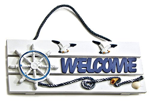 [Welcome Sign | Decorative Welcome Wall Plaque | Nuatical Design | for Door, Entrance or Porch...] (Lighthouse Welcome Plaque)