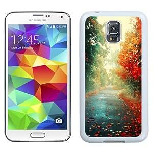 NEW Unique Custom Designed Samsung Galaxy S5 I9600 G900a G900v G900p G900t G900w Phone Case With Red Trees Autumn Path_White Phone Case