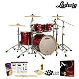 Ludwig USA Keystone 3 Pc Drum Kit in Red Oyster (LK7243KXTQRP) - Includes Zildjian A390 Cymbals, Drumsticks & Guide