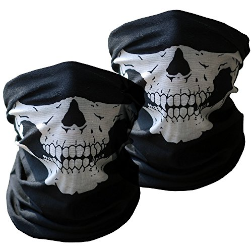 Motorcycle Face Masks 2 Pieces Xpassion Skull Mask Half Face for Out Riding Motorcycle Black (Make A Wish Costumes)