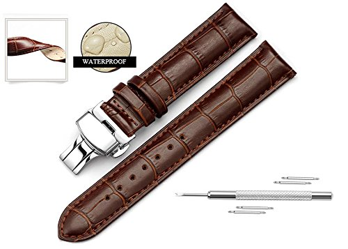- Watch Band Replacment For Men 20mm Calf Leather Watch Strap Deployant Clasp Butterfly Buckle-Brown