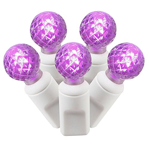 Light Strings G12 Led (Vickerman 50 Light Purple G12 LED Set on White Wire)