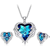 CDE Jewelry Set for Women 18K White Gold Plated Angel Wing Swarovski Crystal Pendant Necklace Heart of Ocean Stud Earrings for Girls Mom