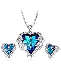 CDE Angel Wing Pendant Necklace White Gold Plated Women Jewelry Heart Ocean Made Swarovski Crystals Necklaces