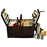 Picnic at Ascot Surrey Basket for 2 with Blanket and Coffee, Brown Wicker/SC Stripe