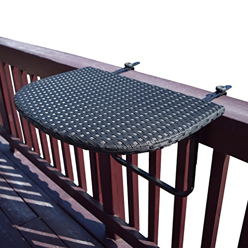 Oakland Living AZ52-BALCONY-TABLE-BK Balcony Railing Wicker Table, Black For Sale