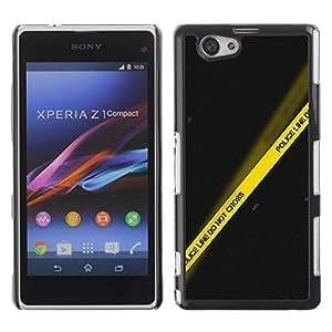 Be Good Phone Accessory // Dura Cáscara cubierta Protectora Caso Carcasa Funda de Protección para Sony Xperia Z1 Compact D5503 // Police Yellow Black Line Crime Scene