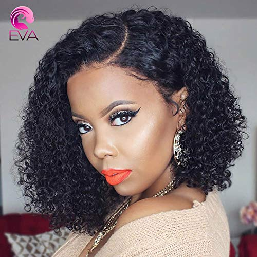 Eva Hair 13x6 Lace Front Wigs Human Hair Short Bob Wigs Pre Plucked With Baby Hair Curly Brazilian Remy Hair Wigs For Black Women (130 Density 12 inch)