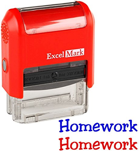 Homework - ExcelMark Self-Inking Two-Color Rubber Teacher Stamp - Perfect for Grading Homework - Red and Blue Ink