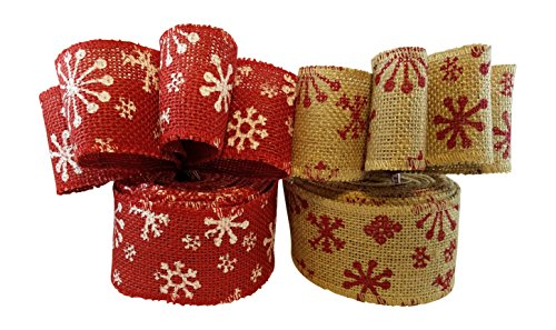 3Cats Designs Christmas Holiday Burlap Ribbon with Wired Edge - Decorate Wreaths, Gift Wrap, Christmas Tree, Bows, DIY Craft Projects - 2 Rolls, Each 2.5 Wide x 10 Yards Long by 3Cats Designs