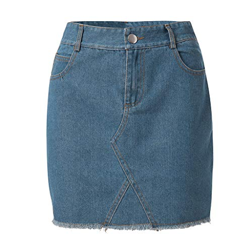 VEZAD Women Fashion Elastic Irregular Denim Open Casual Boot Cut Mini Skirt