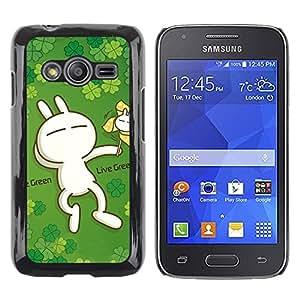 TopCaseStore / la caja del caucho duro de la cubierta de protección de la piel - Cute Live Green Rabbit - Samsung Galaxy Ace 4 G313 SM-G313F