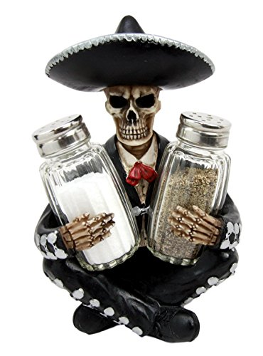 Atlantic Collectibles Day Of The Dead Skeleton Mariachi Wedding Singer Salt Pepper Shakers Holder Figurine (Mexican Day Of The Dead Mask)