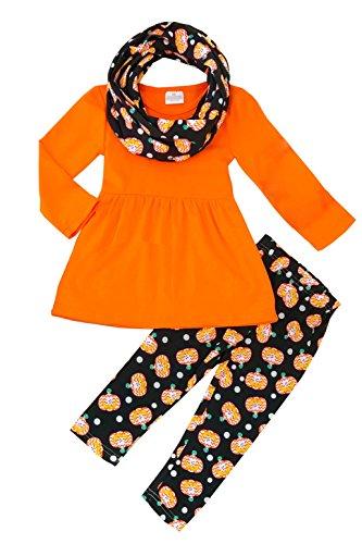 Angeline Girls Halloween Cute Pumpkin Orange Dress Leggings