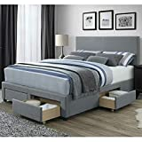 DG Casa 12450-Q-GRY Kelly Panel Bed Frame with Storage Drawers and Upholstered Headboard, Queen Size in Grey Linen Style Fabric