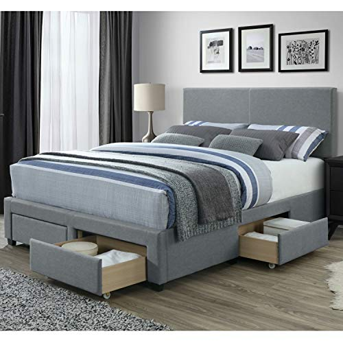 DG Casa Kelly Panel Bed Frame with Storage Drawers and Upholstered Headboard, Queen Size in Grey Linen Style Fabric