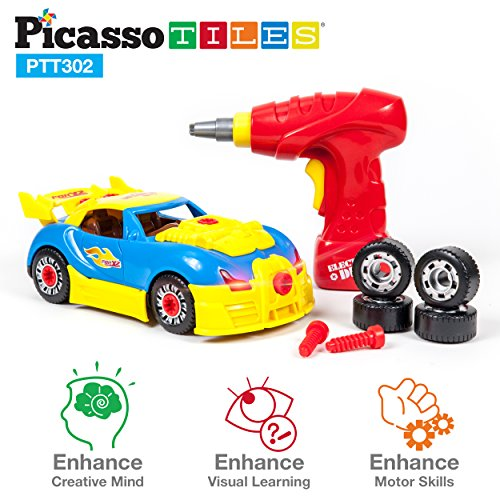 PicassoTiles Take-A-Part Race Car Set with LED, Engine Sound, Mini Electric Power Tool Reversible Drill, Screws Included PTT302 2-in-1 DIY Construction Build Your Own 30pc Racing Car S.T.E.A.M. Kit
