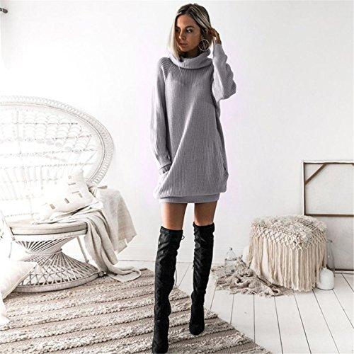 Tops Gris suéter manga suelto de Suéter jersey de Vestido Caliente punto punto Jumper larga de Las de Longra mujeres UWwB7qR