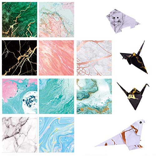 (Paperkiddo 100 Sheets Origami Paper Craft Folding Paper Marble Pattern Premium Quality for Arts and Crafts 6