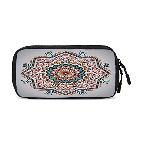 Tribal Practical Data Storage Bag,Abstract Aztec Style Kaleidoscope Themed Boho Ethnic Sun Pattern Art Print Decorative for Organizing Cables,One Size ()