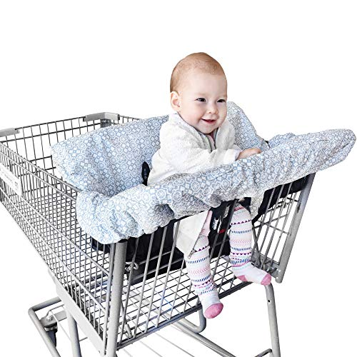 High Chair Baby Cover - Shopping Cart Portable Cover for Baby - 2-in-1 Hammock Baby Cart Cover - Soft & Comfortable Grocery Cart Cover for Toddler - Organic Material - Multiple Side Pockets