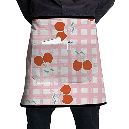 Apron, Stain Resistant Bib Apron With Pocket, Cooking Kitchen Aprons For Women Men Chef, Kitchen Accessories Check Cherries