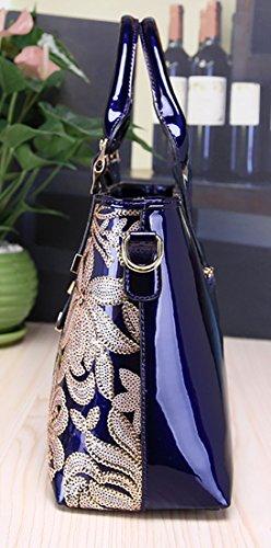 rouge verni bandoulière à à sacs les grands sacs pour tout en Himaleyaz main fourre glissière avec Bourgogne fermeture cuir femmes luxe sac à Bw6v4Pqx