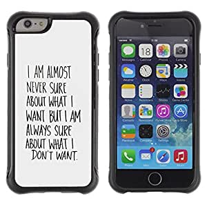 Suave TPU GEL Carcasa Funda Silicona Blando Estuche Caso de protección (para) Apple Iphone 6 PLUS 5.5 / CECELL Phone case / / Know What Want Wishes Quote Motivational /