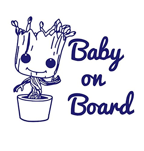 "Price comparison product image BABY GROOT Baby On Board Vinyl Sticker Decals for Car bumper window macbook pro laptop iPad iPhone (6"" x 7"",  Purple)"