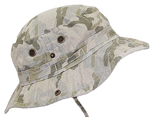 MG Camouflage Ripstop Floppy/Bucket Summer Hat W/Snap Up Sides & Chin Strap - Desert Camo Medium