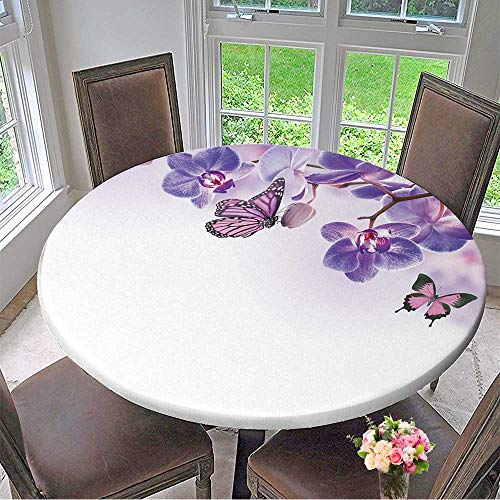 (Mikihome Picnic Circle Table Cloths Floral Background of Tropical Orchids and Butterfly for Family Dinners or Gatherings 35.5