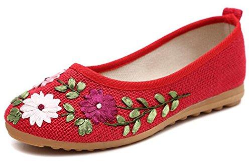 Bumud Femmes Fleur Broderie Conduite Mocassins Glisser Sur Des Chaussures Plates Rouges