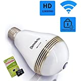 Light Bulb Camera, 1280X960P Hidden Lamp Security Cam with 16G Sd card, Wireless Wifi 360 Degree Panoramic VR Fisheye Lens Spy CCTV, Front Porch E27 E26 LED Bubs Fixture Indoor Usage