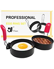 2Pcs Egg Rings,Stainless Steel Egg Molds For Frying With Silicone Handle,Egg Rings For Egg Mcmuffins,Egg Maker Molds,Pancake Mold for Shaping Eggs,Fried Egg Rings,No Stick Round Egg Cooker Ring