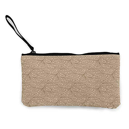 Women's hand bag clutch bag Beige Floral Swirls Damask Pattern Classic Victorian Style in Retro Antique Background Wallet Coin Purses Clutch W 8.5